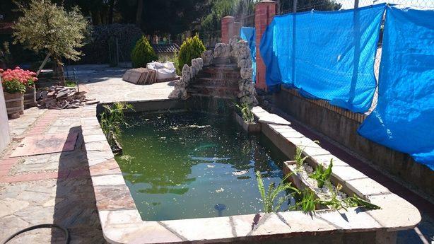 como hacer un estanque de cemento en el jardin